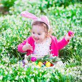 Little Girl On Easter Egg Hunt