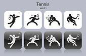 Set of monochrome tennis icons. Editable vector illustration.