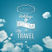 Summer holidays poster in cutout paper style.