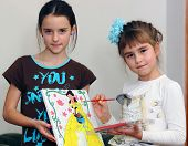 Little girls draw princess