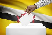 Ballot Box With National Flag On Background - Brunei