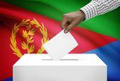 stock photo of eritrea  - Ballot box with national flag on background  - JPG