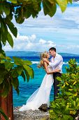 Happy Bride And Groom Having Fun On A Tropical Beach Under The Palm Trees.