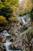 Long Exposure Of Waterfall Of Rocks In Fall