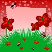 Children's Illustration With Label For Text. Meadow With Poppies. Red Color