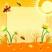 Children's Illustration With Label For Text. Solar Tulips. Yellow Color