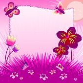 Children's Illustration With Label For Text. Meadow At Sunset. Pink Color