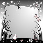 Children's Illustration With Label For Text. Lawn At Night With Mice. Black And White Colors