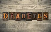 Diabetes Wooden Letterpress Concept