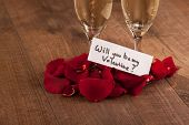 Champagne flute and gift to Valentines day