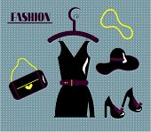Set of fashion on blue dotted background