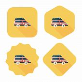 Transportation Ambulance Flat Icon With Long Shadow,eps10