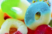 stock photo of jar jelly  - Plenty of colorful jelly ring candies - JPG