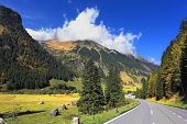 The famous Alpine road Grossglocknershtrasse. The autumn in the Austrian Alps. The beautiful sunny day in the national park of the Grossglockner.