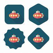 Transportation Submarine Flat Icon With Long Shadow,eps10