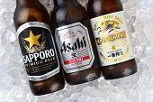 Sapporo, Kirin And Asahi Beers On Ice