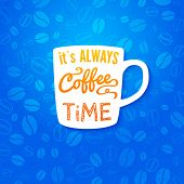 Poster with coffee cup on a bright background.