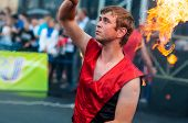 Dance With Fire Or Fire Show In The Program Youth Meeting In Boxing Match Between Teams Of Russia An