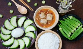 picture of okra  - Meal for vegetarian with menu - JPG