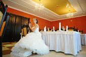 stock photo of tiara  - bride with tiara pose at the restauraunt - JPG