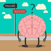stock photo of suggestive  - Brain character choosing its way between failure and success - JPG