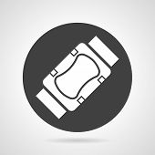 stock photo of elbows  - Flat black round vector icon with white silhouette knee or elbow protection on gray background - JPG