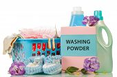 picture of detergent  - Clothes with detergent and washing powder in plastic basket isolated on white - JPG