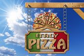 foto of food chain  - Wooden sign with frame and text Italy pizza slices of pizza on cutting board - JPG