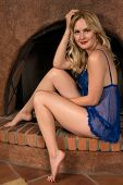 picture of chemise  - Beautiful tall Russian blonde in a blue chemise - JPG