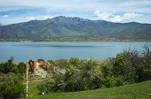 A Scenic View Of The Mountains And Lake Prespa, Greece poster