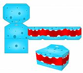 stock photo of paper craft  - Die paper boxes templates with cartoon monsters - JPG