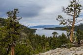 foto of emerald  - Emerald Bay in Lake Tahoe with stormy clouds in a Spring afternoon - JPG