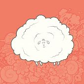 image of kawaii  - Vector Illustration Cute Hand Drawn Sheep whose wool is very much - JPG