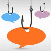picture of hook  - Illustrated hooks with colorful speech bubbles on gray background - JPG