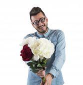 image of nerds  - Nerd boy woos with a flowers bouquet - JPG
