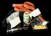 stock photo of heroin  - Drug syringe and heroin with pills over money - JPG