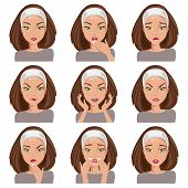 image of emotions faces  - Isolated young woman with different emotions on her face - JPG