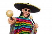 stock photo of maracas  - Handsome man in vivid poncho holding maracas isolated on white - JPG