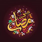 pic of ramadan mubarak  - Arabic Islamic calligraphy of text Ramadan Mubarak decorated with colorful flowers on brown background - JPG