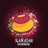 pic of ramadan mubarak  - Beautiful arabic lantern on floral decorated background for Islamic holy month of prayers - JPG