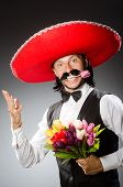pic of sombrero  - Mexican man wears sombrero isolated on white - JPG