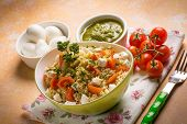 pic of pesto sauce  - vegetarian couscous with mozzarella tomatoes and pesto sauce - JPG