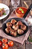 picture of meatball  - grilled meatball in pan - JPG