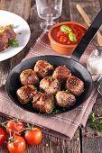 foto of meatball  - grilled meatball in pan - JPG