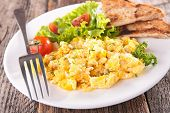 picture of scrambled eggs  - scrambled egg with salad and toast - JPG