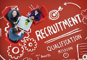 stock photo of recruiting  - Recruitment Qualification Mission Application Employment Hiring Concept - JPG
