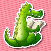 image of dragon  - Green dragon reading book with pink background - JPG