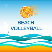 picture of volleyball  - Beach Volleyball Bright Vector Design Element on Sea wave Background - JPG