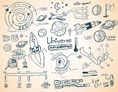 pic of earth mars jupiter saturn uranus  - Universe infographics element collection with hand drawn doodles sketch - JPG
