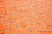 picture of paving stone  - Background of rectangular orange brick paving stones in a public ground - JPG